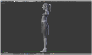 Side View of Model with boots.